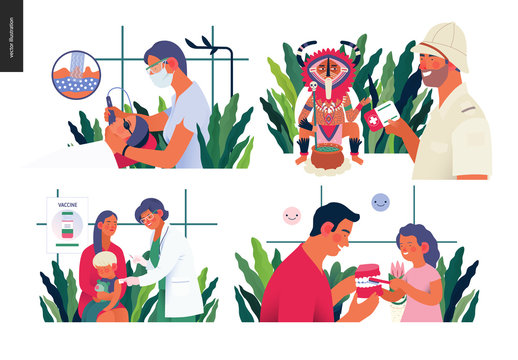 Set of medical insurance illustration- childhood immunization, medical assistance all over the world, dermatology, cosmetology, pediatric dentistry - modern flat vector concept digital illustrations