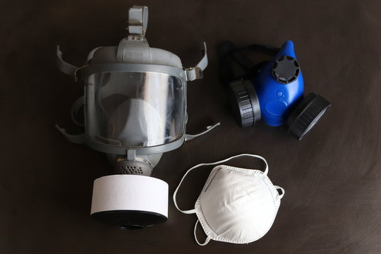 Different selection of respirators or face masks.The masks are designed to protect your lungs from different levels of hazardous materials that could damage the lungs.