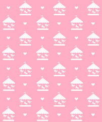 Vector seamless pattern of white unicorn carousel isolated on pastel pink background