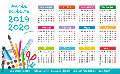 Calendrier Pro A 2020 2019.2019 2020 Calendrier Annee Scolaire 2 Stock Image And