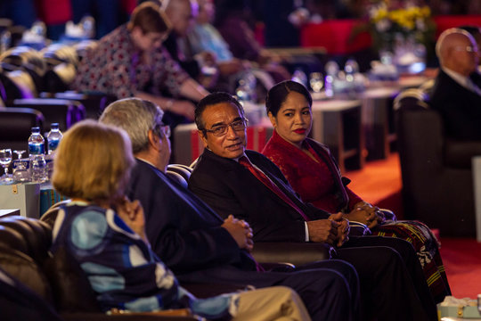 East Timor's President Francisco Guterres talks as he attends the 20th Popular Consultation Day, to commemorate the referendum of East Timor, in Tasi Tolu, Dili