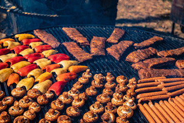 grill meat and vegetables outdoor picnic food concept picture