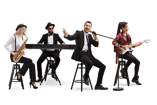 Music band with a guitarist, sax and keyboard and a singer