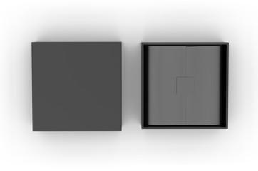 White blank hard cardboard box mock up template, 3d illustration.