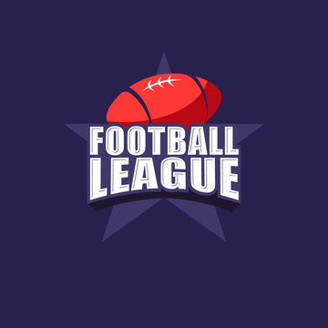 Football league logo. American football sports emblem. Lettering with ball on a big star.