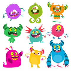 Funny cartoon monsters set. Vector illustration