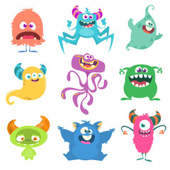 Photo sur Aluminium Creatures Funny cartoon monsters set. Vector illustration