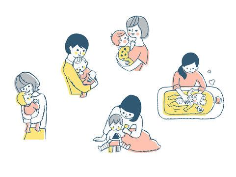 ママと赤ちゃん セット ピンク