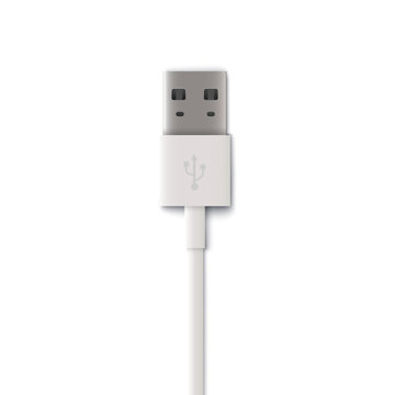 Plug white usb cable, computer technology to connect mobile devices and tablets.
