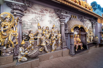 Hindu Goddess Saraswati of Knowledge, Music, dance,art and study statues at Sri Krishnan Temple, Bugis, Singapore.
