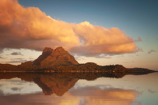 Tranquil Reflection in Bora Bora, Tahiti