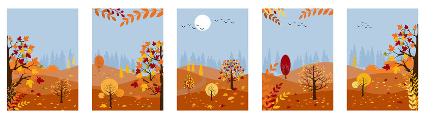 Vector set of Autumn background with copy space for text,Autumn panorama lanscape forest and hills with maples leaves falling from tree, Collections for banner, posters, design templates and wallpaper