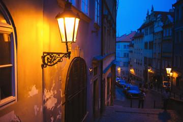 Street lamp lantern by night in Prague, Czech republic