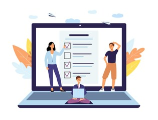 Online survey, poll and checklist form concept with questionnaire, people and laptop.