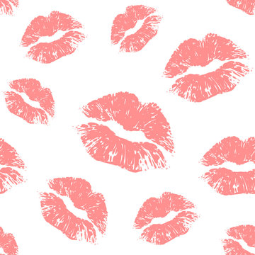 Vector nude lips seamless pattern on white background. Lips prints
