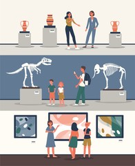 Set of banners with tourists at museum the flat vector illustration isolated.