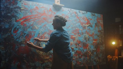 Aufkleber - Talented Innovative Female Artist Draws with Her Hands on the Large Canvas, Using Fingers She Creates Colorful, Emotional, Sensual Oil Painting. Contemporary Painter Creating Modern Art