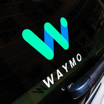 August 29, 2019 Sunnyvale / CA / USA - Close up of Waymo logo on the rear glass on one of their self driving cars, in testing at this moment on the streets of Silicon Valley