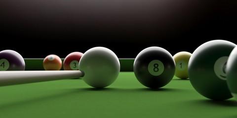 Billiard table, pool balls on green felt. 3d illustration