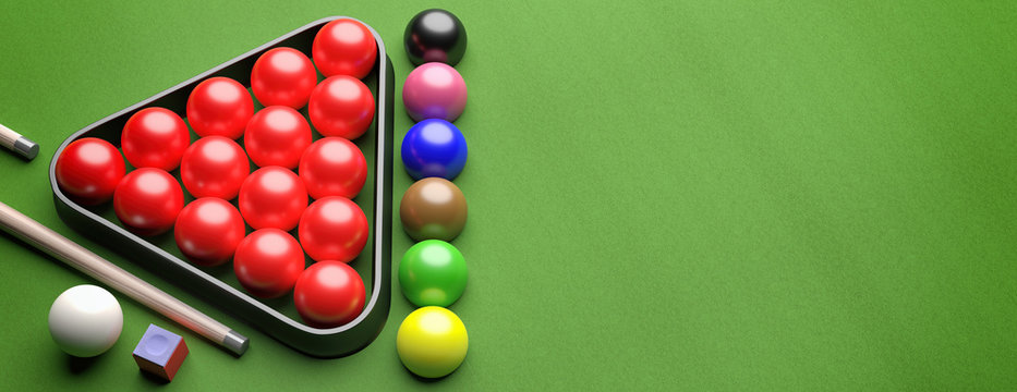 Snooker balls set on green felt, view from above. 3d illustration