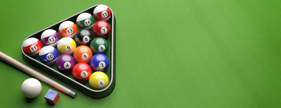Billiard balls set on green felt, view from above. 3d illustration