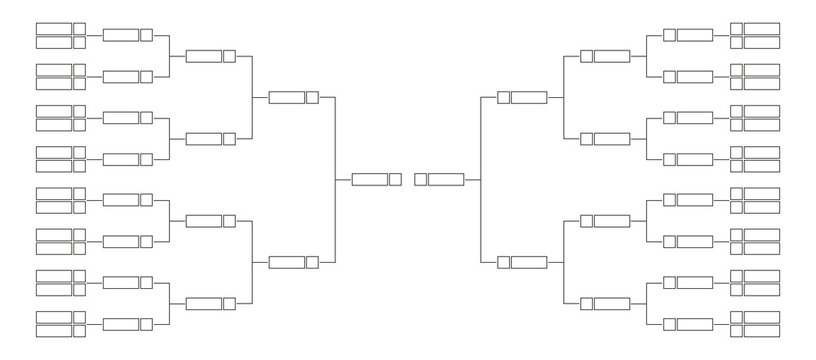Vector line or outline championship single elimination tournament bracket or tree diagram isolated on white. Fields for 32 players or teams, 16 from each side. It is suitable for all kinds of sports.