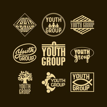 Christian logos, banners and stickers. Youth group.