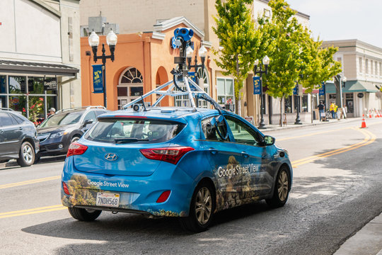 August 29, 2019 Sunnyvale / CA / USA - Google Street View vehicle driving through downtown Sunnyvale, Silicon Valley
