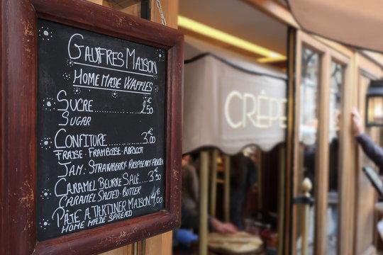 Crêpe Stand Chalkboard Menu in France