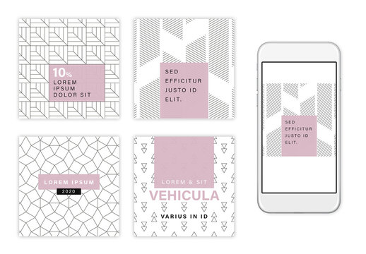 Purple and White Social Media Post Set with Abstract Line Elements