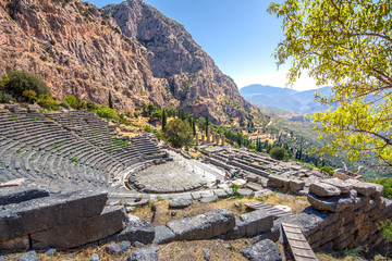 Wall Mural - The amphitheater and the temple of Apollo in Delphi, Greece