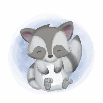 Cute Baby Raccoon Happy Face