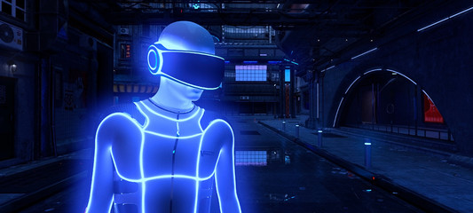 Fotomurales - Photorealistic 3d illustration of the futuristic city in the style of cyberpunk. Man in a cybersuit and virtual reality glasses on a head against a street with neon lights. Beautiful night cityscape.