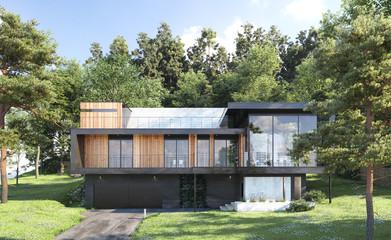 Türaufkleber Khaki Modern house in forest, 3d render