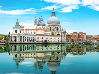 Fototapete - Venice, Italy. Amazing view of Venice with mirror reflection in water. Panorama of old architecture of Venice at the Grand Canal. Beautiful summer scenery of the Venice city in summer.
