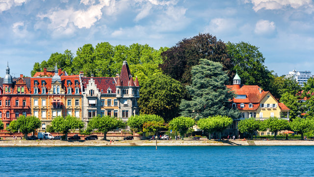 Constance or Konstanz in summer, Germany. Scenic view of coast of Constance Lake (Bodensee). Panorama of embankment in central Constance with beautiful vintage houses. Scenery of old European town.
