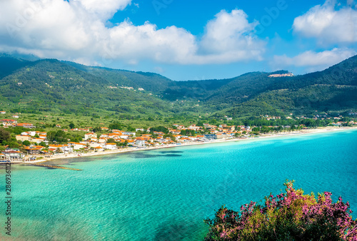 Wall mural Landscape with Skala Potamia and Amazing Golden Beach on Thassos, Aegean Sea, Greece