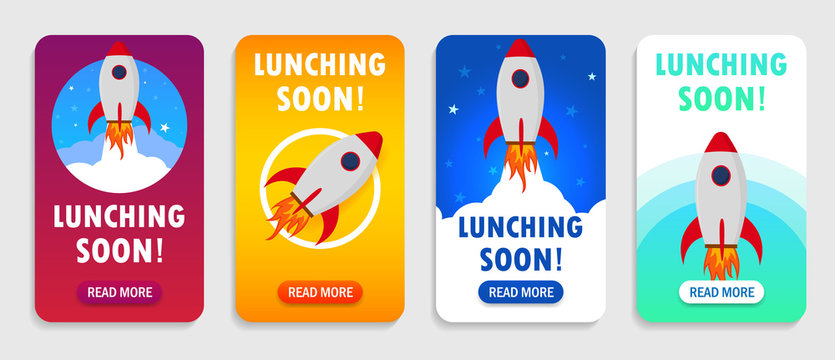 Launch rocket with launching soon interface for mobile app, smart phones. Startup rocket banner with launching soon.Shuttle in space for page of mobile app. vector