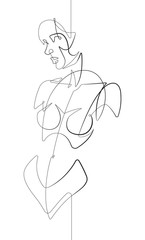 Foto op Plexiglas One Line Art Female Figure Facing Forward One Continuous Line Cartoon Vector Graphic Illustration