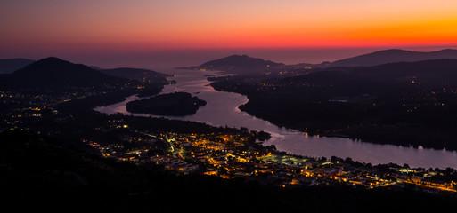 Vila Nova de Cerveira, top of the mountain view over Minho River and Caminha at sunset, Portugal.