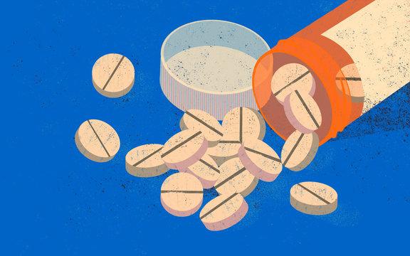The opioid epidemic. American people deadly addiction. Orange opioid pill bottle.