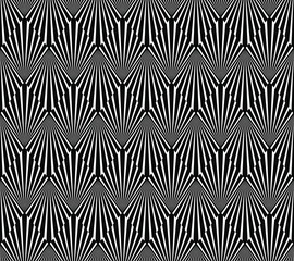 Seamless black and white op art geometric illusion art deco rays and diamonds vector pattern