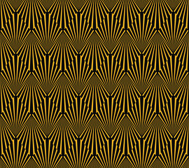 Seamless black and gold op art geometric illusion art deco rays and diamonds vector pattern