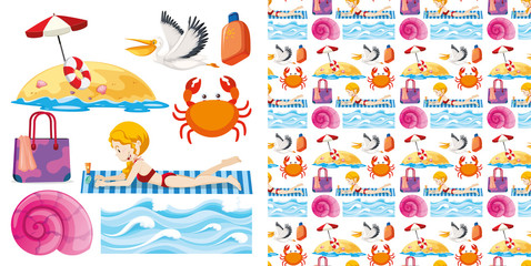 Set of seamless background design with isolated objects theme - summer