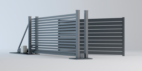 Sliding gate and fence panel, 3D illustration