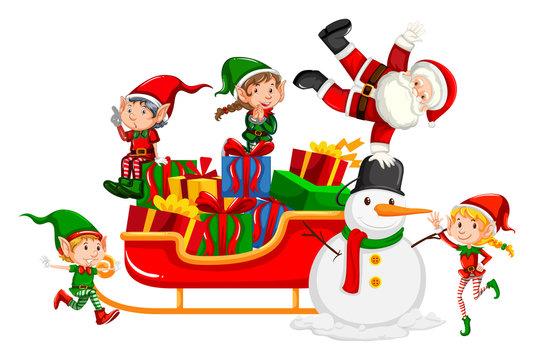 Santa and christmas elves on sleigh