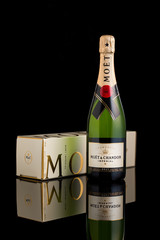 CHATHAM, NJ - JANUARY 13, 2014: Bottle of Moet & Chandon champagne. Moet Chandon is one of the world's largest champagne producers co-owner of the luxury goods company Moet-Hennessy - Louis Vuitton
