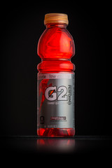 CHATHAM, NJ - JANUARY 1, 2014: Photo of a red Gatorade G2 bottle. Gatorade is a sports drink brand manufactured by PepsiCo. G2 is the low-calorie version of original Gatorade