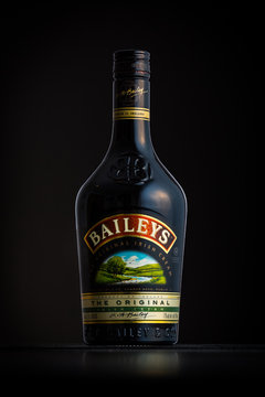 CHATHAM, NJ - JANUARY 1, 2014: Photo of a Baileys bottle. Baileys Irish Cream is an Irish whiskey and cream based liqueur owned by Diageo