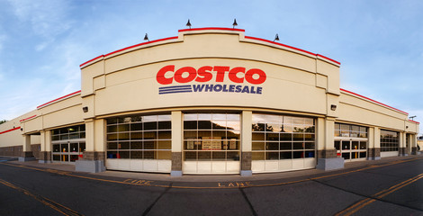 WHARTON, NJ - MAY 20, 2018: Panoramic view of Costco Wholesale store at sunset. Costco Wholesale Corporation, a membership only warehouse club, is the second largest retailer in USA